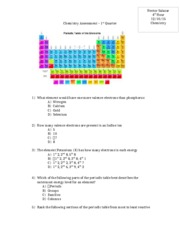 Chemistry Assessment - 1st Quarter Study Guide
