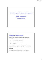 IE400_Lecture Integer Programming_Handout