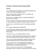 Using Drugs Responsibly Terms