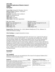 SPED 5050 Educational Applications of Behavior Analysis II Syllabus Spring 2015