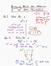 Solving x squared Notes