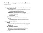BSC 2011 Chapter 31 Immunology- Animal Defense Systems Textbook Notes