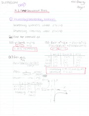 First Derivative Test and Critical Points
