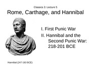 Lecture 5 Rome, Carthage, and Hannibal