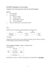BUSI0017 Management Accounting I Chapter 2