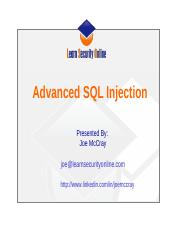 Advanced SQL Injection 2
