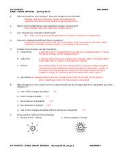 CP Phys Spr 2012 Final Exam Review Answers