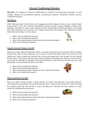 classical conditioning classical conditioning worksheet directions six examples. Black Bedroom Furniture Sets. Home Design Ideas