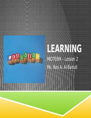 MIDTERMS.Lesson 3-Theories of learning