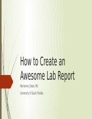 How to Create an Awesome Lab Report