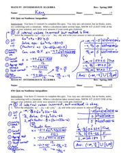 Quiz Solution on solving nonlinear inequalities
