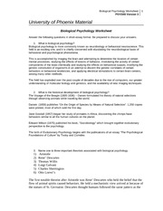 psy340 Biological Psychology Worksheet