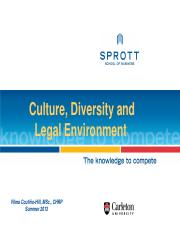 Culture and Diversity, legal environment Session 3, Class