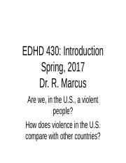 EDHD 430 First Class Introduction Spring 2017