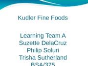 kudler fine foods detailed design process and design specifications