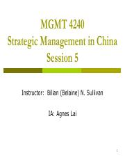 Session 5 - Managing JV in China students