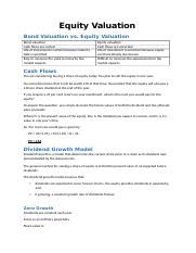 Lecture 5 - Equity Valuation
