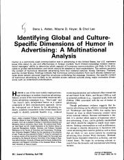 Identifying Global and Culture-Specific Dimensions of Humor in Advertising