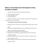 What is a heart attack and what happens during and after an attack.docx