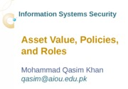 Lecture-6 Asset Value, Policies, and Rols