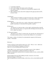 Study of the family Research Paper Outline