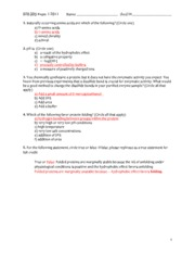 Biochem 2013 Practice Questions- Exam1 ANSWER KEY