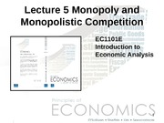 Lecture 5 Monopoly and Monopolistic Competition