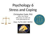 Class 7 - Behavioral Approaches to Coping