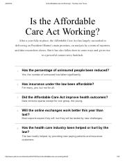 Is the Affordable Care Act Working_ - The New York Times