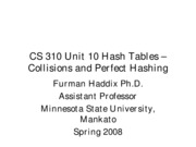 CS 310 Unit 10 Collisions and Perfect Hashing