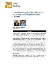 Factors Influencing Students' Acceptance of M-Learning An Investigation in Higher Education