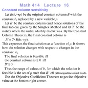 Lecture 16 on Linear Programming