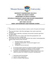 FOOD SECURITY SUPPLEMENTARY EXAM MARKING SCHEME