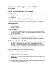 Outline of Introduction and Basic Geology 1105 spring 2017-2