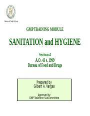 SANITATION and HYGIENE [Autosaved] ppt - Bureau of Food