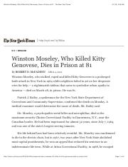 Winston Moseley, Who Killed Kitty Genovese, Dies in Prison at 81 Robert McFadden The New York Times.