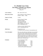 Health Care Crisis Syllabus