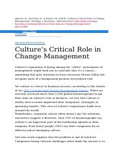 Cultures Critical Role in Change Management.docx
