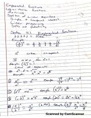 College Algebra exponential function notes
