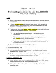 HIS 202 Unit Two Section M-The Great Depression and the New Deal-SPR15.docx
