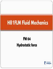 FM 04 Hydrostatic force