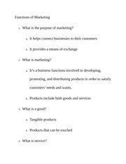 Functions of Marketing Class Notes