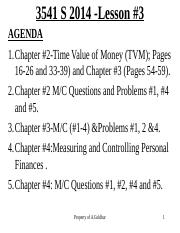 Lesson _3, TVM, Key FP Documents and Debt Mngt, Chapter 2, 4 and 12  S2015, For Class Presentation,