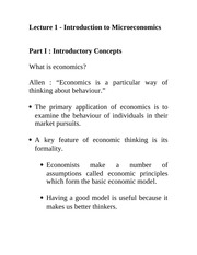 Lecture 1: Introduction to Microeconomics Econ 1150