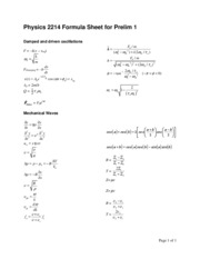 Physics 2214 Formula Sheet for Prelim 1 (2)
