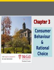 Chapter 3 (Consumer Behaviour and Rational Choice), Fall 2015