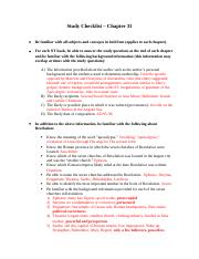Study Checklist - Chapter 31.docx