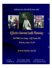 Effective Internal Audit Planning