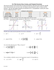 Problem Set on Inverse Functions