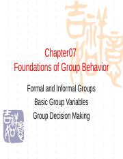 chapter07 foundations of group behavior
